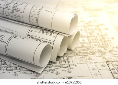 Construction site isolated images stock photos vectors shutterstock bangkok thailand 31 march 2017 engineer drawing plan and roll of blueprints malvernweather Images