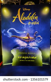 BANGKOK, THAILAND, 31 March 2019 - A beautiful standee of a movie called Aladdin display at the cinema to promote the movie