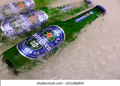 Bangkok Thailand. 31 May 2019 :  Non-alcoholic version of Heineken 0.0 beer. New products of Heineken.