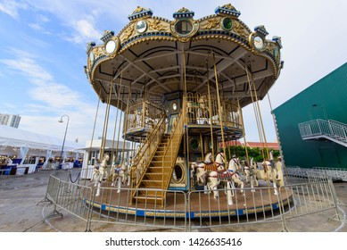Bangkok , Thailand -  31  May, 2019 :Carousel in amusement park of  ASIATIQUE The Riverfront shopping center