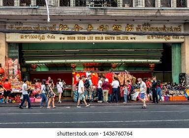 BANGKOK, THAILAND - 4 FEB : People walking and shopping at Chinatown on 4 February 2019 in Bangkok city, Thailand