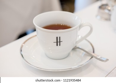 Bangkok, Thailand 4 March 2018: A cup of tea at Harrods Tea Room. Harrods is a luxury department store located in London, United Kingdom