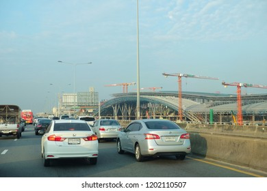 Bangkok, Thailand - 4 Oct 2018 :  Cars Traffic on Sirat Expressway in front of Bang Sue Grand Station Construction site