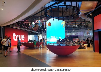 BANGKOK, THAILAND - 5 APR 2019: TRUE move telco service counter provides services to customers in Icon Siam mall. TRUE is a communication conglomerate in Thailand.