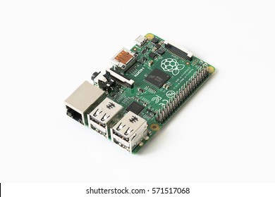 Bangkok, Thailand- 5 February, 2017:a Raspberry Pi 2 Model B board, isolated on white background. Is a series of single-board computers developed by the Raspberry Pi Foundation.