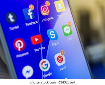 BANGKOK, THAILAND, 5 MAY, 2017: Social Media  application on Smart Phone, Facebook, Instagram, LINE, Youtube, Google, Pinterest, Skype, Tumblr, Snapchat