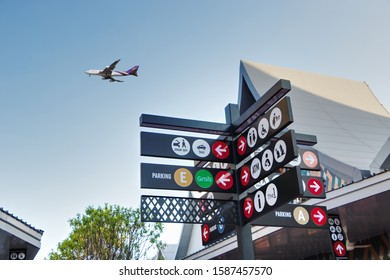 Bangkok, Thailand - 5 May 2019 : Way finding signs provide direction and a sense of security. Wayfinding signs designed for public information at a shopping center, Central Village Airport plaza.
