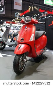 BANGKOK, THAILAND - 6 APR 2019: Close up elegantly designed of vespa scooter display in exhibition hall. Vespa is an Italian brand of scooter manufactured by Piaggio.