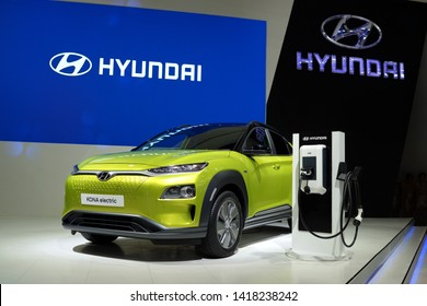 BANGKOK, THAILAND - 6 APR 2019: Hyundai Kona Electric car display in exhibition hall. The Kona electric or Kona EV is the world's first fully electric subcompact crossover SUV launched in South Korea.