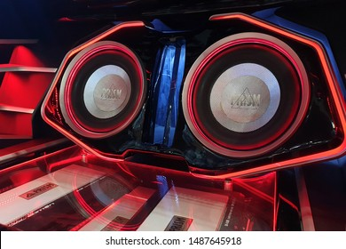 BANGKOK, THAILAND - 6 APR 2019: Shokindustries Prism brand customize car audio system display in Bangkok International Motor Show.