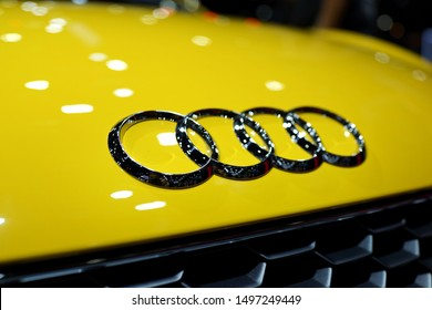 BANGKOK, THAILAND - 6 APR 2019: The emblem on the front grille of Audi car display at Bangkok Motor Show. Audi AG is a German automobile manufacturer and member of the Volkswagen Group.