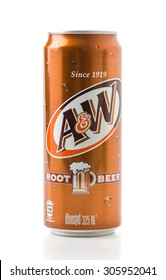 Bangkok Thailand 6 Aug 2015, A&W rootbeer cans on white background