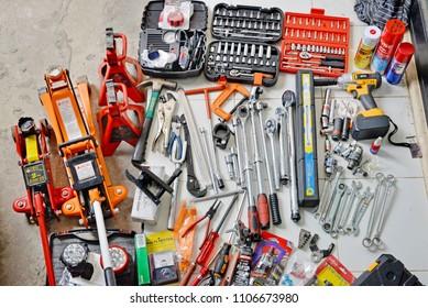 BANGKOK, THAILAND - 6 JUNE 2018 : Professional work tools for Mechanic maintenance cars