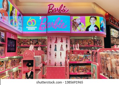 BANGKOK, THAILAND - 7 APR 2019: Shelves overstock of Barbie doll toys in Siam Paragon Mall. Barbie is a fashion doll manufactured by the American toy-company Mattel and launched in March 1959.