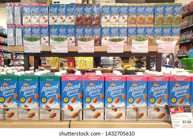 BANGKOK, THAILAND - 7 APR 2019: Blue diamond almond breeze on store shelf. Blue Diamond Growers is a California agricultural cooperative and marketing organization that specializes in almonds.