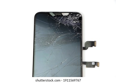 Bangkok, Thailand, 7 February 2020, Image of damaged iphone 11 Pro Max display, modern smartphone with damaged glass screen, device needs repair on white background. separate text or ad copy space.