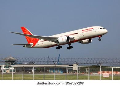 Bangkok Thailand 8 Apr 2018:Air India Boeinh 787-8 dreamliner was taking off from Suwannabhum international airport to send passenger to india