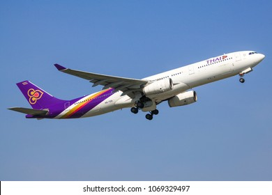 Bangkok Thailand 8 Apr 2018:Thai airways Airbus A330-343 HS-TET was taking off from Suwannabhum international airport