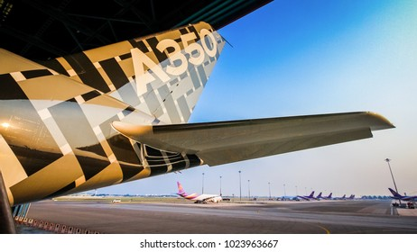 Bangkok Thailand - 9 Feb, 2018 : Airbus Industrie's aircraft type Airbus A350-1000 reg.F-WLXV displayed at Suvarnabhumi Airport, Bangkok for showed and had a demonstration flight on 9 February 2018.