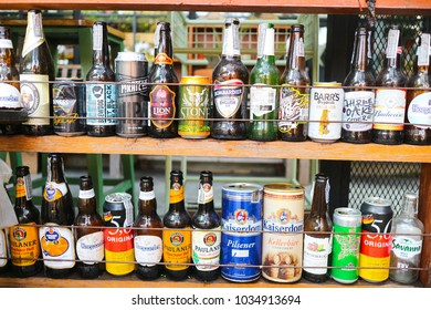 Bangkok Thailand ,Acohol empty bottles such as beer wine wiskey from many famous brand in coffee shop  at 27 February 2018