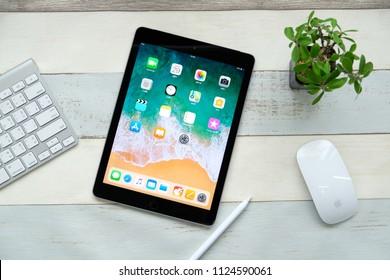 BANGKOK THAILAND : Apple iPad 9.7 (2018) Wi-Fi + Cellular launch on June 28 ,2018 bangkok ,thailand