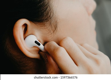 BANGKOK THAILAND : Apple launch new earphone Airpods Pro on December 5 ,2019 bangkok ,thailand