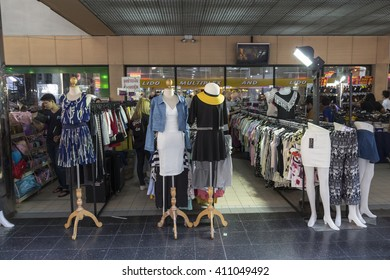 BANGKOK THAILAND - APR 10 : street 	 clothes shop in front of Lido Multiplex of Siam Square on april, 10, 2016, thailand. siam square is famous shopping place of Bangkok