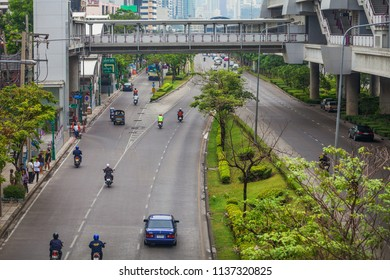 BANGKOK, THAILAND - Apr 12, 2013: Time when streets aren't loaded. Bangkok is one of the most important economic and transport centres in South-East Asia