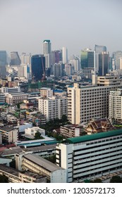BANGKOK, THAILAND - Apr 12, 2013: View from the height of the cityscape with houses and high-rise buildings in Bangkok