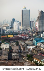 BANGKOK, THAILAND - Apr 12, 2013: Bangkok towers and buildings cityscape in downtown. High buildings as well as the old quarters