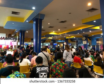 Bangkok, Thailand - Apr 12, 2019 : People waiting for take a bus going to countryside at Nakorn Chai Air bus terminal.Many people waiting to go birthplace on long weekend at Bus station in chatuchak.