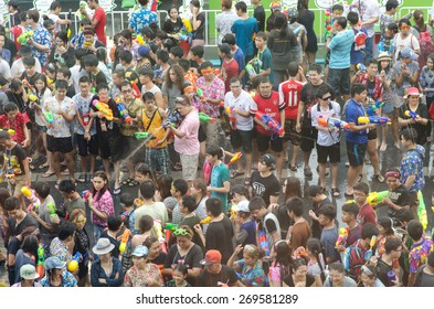 BANGKOK, THAILAND -  APR 14 : Revelers during Songkran Festival on Apr 14, 2015 in Bangkok, Thailand. The water festival has long been observed as New Year and the occasion for people to cool off.