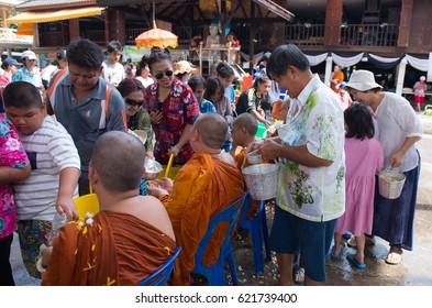 Bangkok Thailand Apr 15 2017:People honoring monks by pouring water, Songkran Festival, Thailand