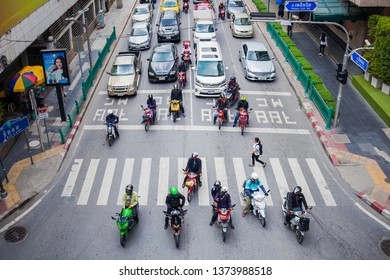 BANGKOK, THAILAND - APR 15 : Bangkok traffic jam in Chidlom area on April 15, 2019. Chidlom is one of the busiest area in Bangkok.