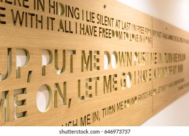 BANGKOK, THAILAND – APR 21, 2017: Decoration of condominium in Bangkok, Thailand. Wooden board that engraved English word on board.