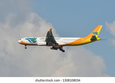 Bangkok, Thailand - Apr 21, 2018. An Airbus A330-300 airplane of Cebu Pacific landing at Bangkok Suvarnabhumi International Airport (BKK).