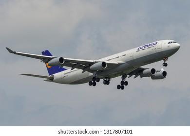 Bangkok, Thailand - Apr 21, 2018. An Airbus A340-300 airplane of Lufthansa landing at Bangkok Suvarnabhumi Airport (BKK).