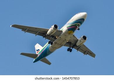 Bangkok, Thailand - Apr 21, 2018. HS-PGY Bangkok Airways Airbus A319 landing at Bangkok Suvarnabhumi International Airport (BKK).