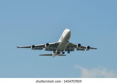 Bangkok, Thailand - Apr 21, 2018. Thai Airways Boeing 747-400 landing at Bangkok Suvarnabhumi International Airport (BKK).
