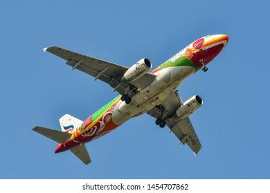 Bangkok, Thailand - Apr 21, 2018. Bangkok Airways HS-PGU (Airbus A320) landing at Bangkok Suvarnabhumi International Airport (BKK).