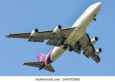 Bangkok, Thailand - Apr 21, 2018. Thai Airways HS-TGG (Boeing 747-400) landing at Bangkok Suvarnabhumi International Airport (BKK).