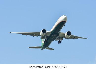 Bangkok, Thailand - Apr 21, 2018. EVA Air B-16717 Boeing 777-300ER landing at Bangkok Suvarnabhumi International Airport (BKK).
