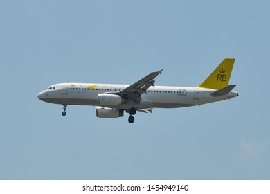 Bangkok, Thailand - Apr 21, 2018.  Royal Brunei Airlines V8-RBS Airbus A320 landing at Bangkok Suvarnabhumi International Airport (BKK).