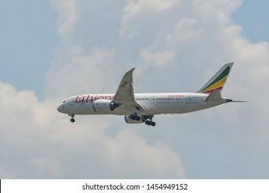 Bangkok, Thailand - Apr 21, 2018. ET-ASH Ethiopian Airlines Boeing 787-8 Dreamliner landing at Bangkok Suvarnabhumi International Airport (BKK).