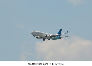 Bangkok, Thailand - Apr 21, 2018. PK-GNH Garuda Indonesia Boeing 737-800 landing at Bangkok Suvarnabhumi International Airport (BKK).