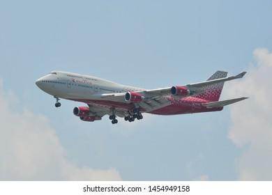 Bangkok, Thailand - Apr 21, 2018. EI-XLE Rossiya Russian Airlines Boeing 747-400 landing at Bangkok Suvarnabhumi International Airport (BKK).
