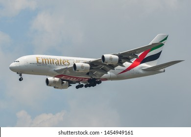 Bangkok, Thailand - Apr 21, 2018. Emirates A6-EUY (Airbus A380) landing at Bangkok Suvarnabhumi International Airport (BKK).