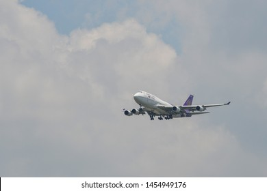 Bangkok, Thailand - Apr 21, 2018. Thai Airways HS-TGX (Boeing 747-400) landing at Bangkok Suvarnabhumi International Airport (BKK).