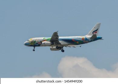 Bangkok, Thailand - Apr 21, 2018. HS-PGV Bangkok Airways Airbus A320 landing at Bangkok Suvarnabhumi International Airport (BKK).