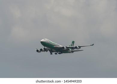 Bangkok, Thailand - Apr 21, 2018. EVA Air Cargo Boeing 747-400F (B-16483) landing at Bangkok Suvarnabhumi International Airport (BKK).
